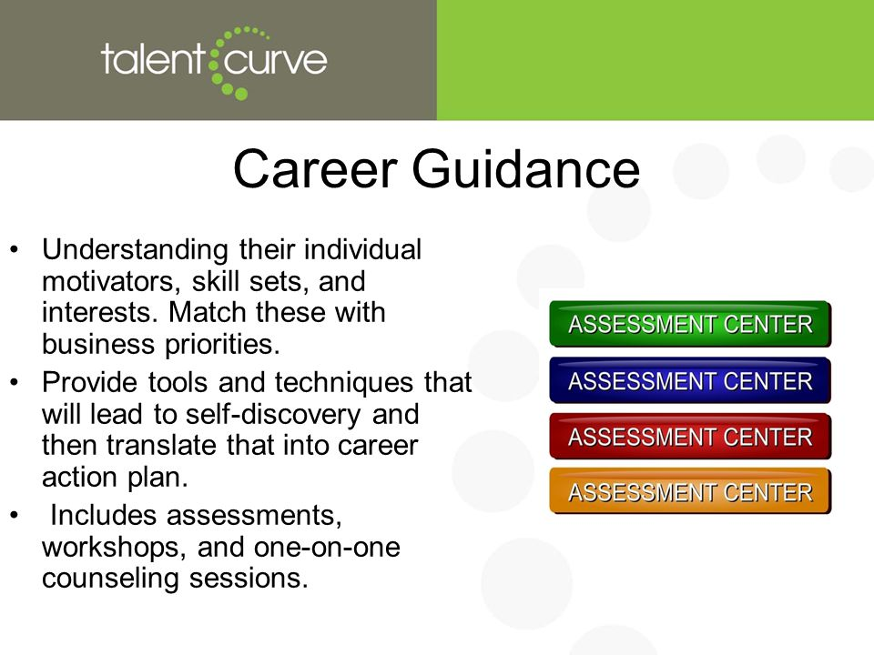 Career Guidance Understanding their individual motivators, skill sets, and interests.