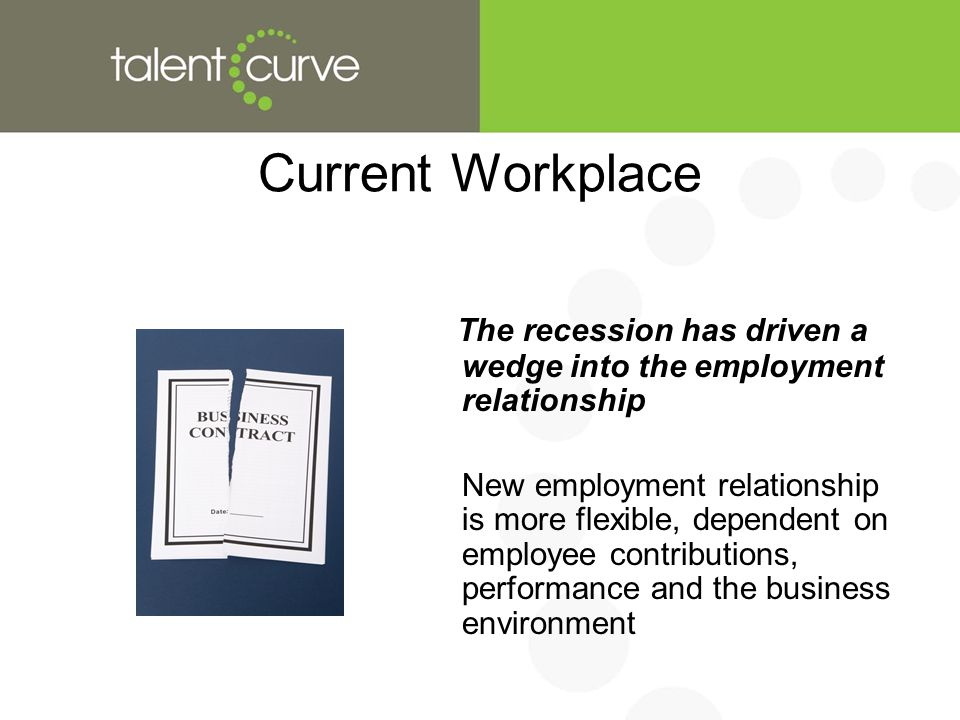 Current Workplace The recession has driven a wedge into the employment relationship New employment relationship is more flexible, dependent on employee contributions, performance and the business environment