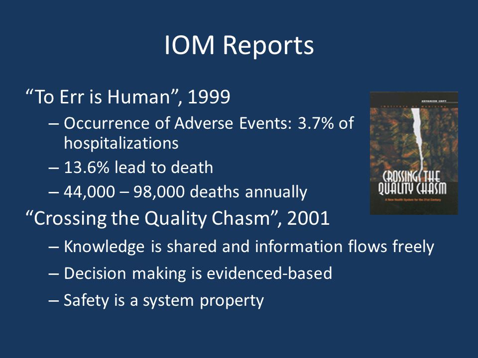 """IOM Reports """"To Err is Human"""", 1999 – Occurrence of Adverse Events: 3.7% of hospitalizations – 13.6% lead to death – 44,000 – 98,000 deaths annually """""""