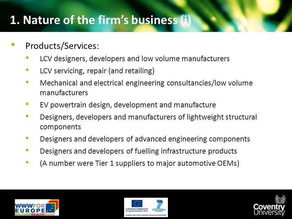 1. Nature of the firm's business (i) Products/Services: LCV designers, developers and low volume manufacturers LCV servicing, repair (and retailing) M