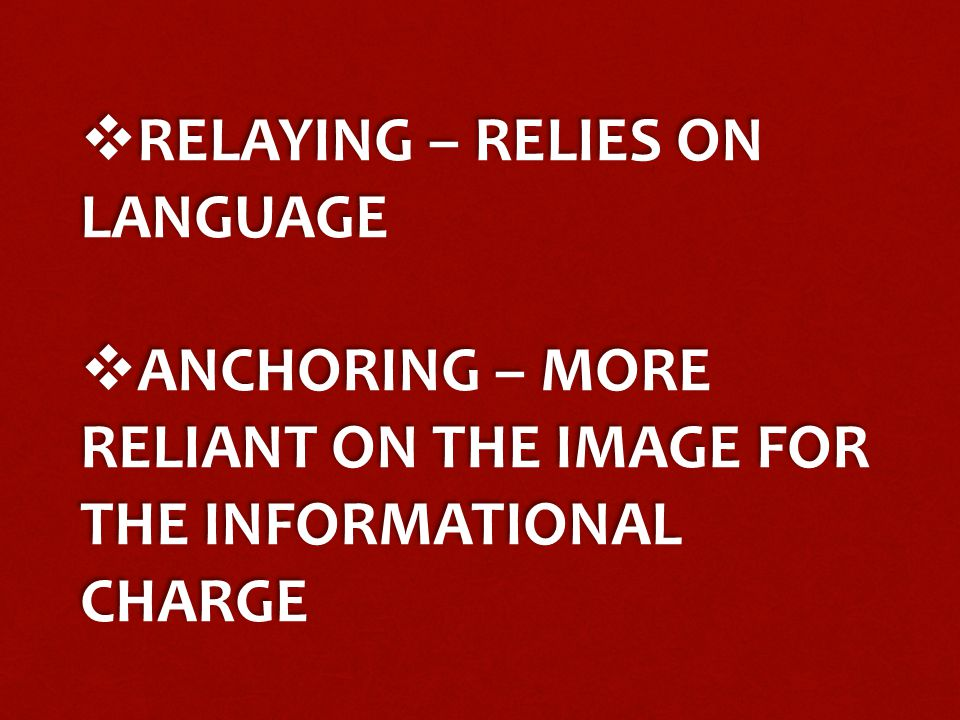  RELAYING – RELIES ON LANGUAGE  ANCHORING – MORE RELIANT ON THE IMAGE FOR THE INFORMATIONAL CHARGE  RELAYING – RELIES ON LANGUAGE  ANCHORING – MOR