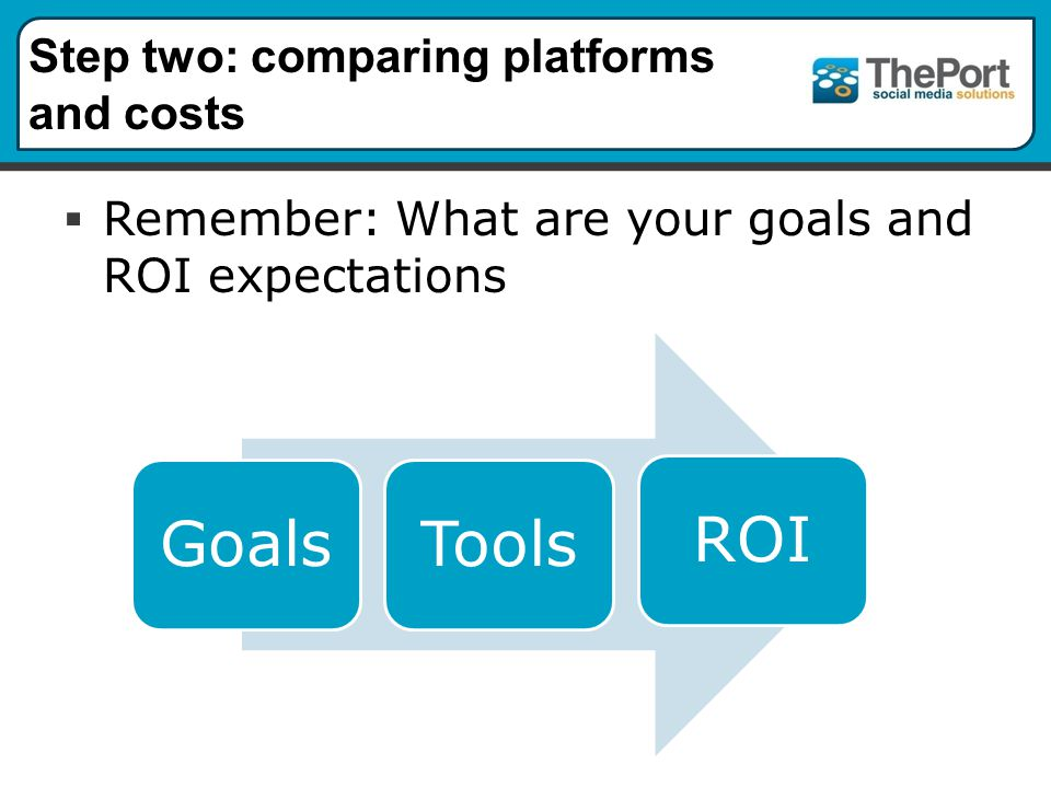 Step two: comparing platforms and costs  Remember: What are your goals and ROI expectations GoalsToolsROI