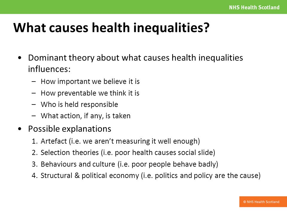 What causes health inequalities.