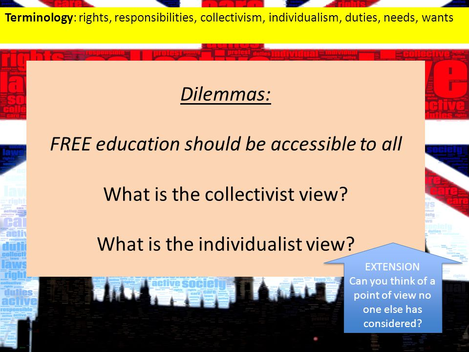 Terminology: rights, responsibilities, collectivism, individualism, duties, needs, wants Dilemmas: FREE education should be accessible to all What is the collectivist view.