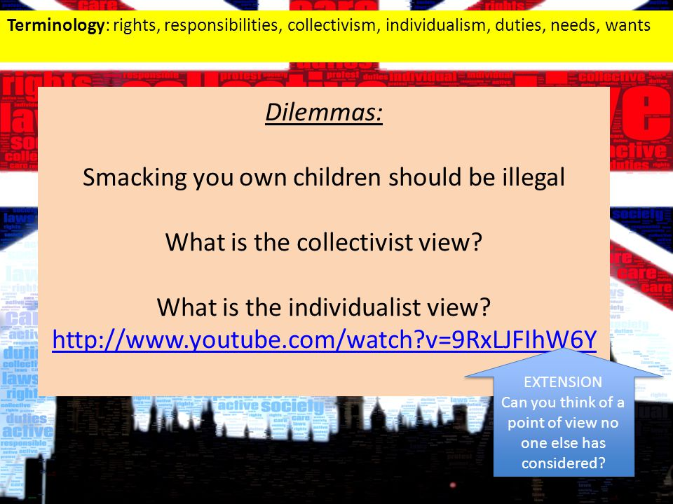 Terminology: rights, responsibilities, collectivism, individualism, duties, needs, wants Dilemmas: Smacking you own children should be illegal What is the collectivist view.