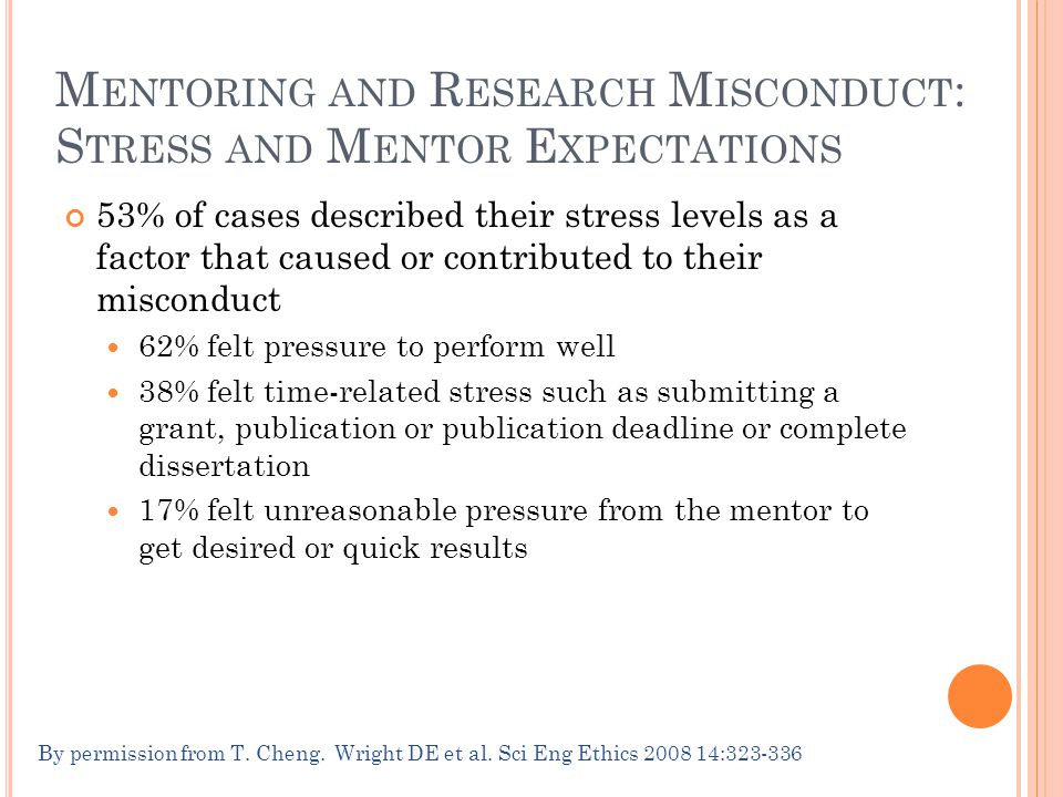 M ENTORING AND R ESEARCH M ISCONDUCT : S TRESS AND M ENTOR E XPECTATIONS 53% of cases described their stress levels as a factor that caused or contributed to their misconduct 62% felt pressure to perform well 38% felt time-related stress such as submitting a grant, publication or publication deadline or complete dissertation 17% felt unreasonable pressure from the mentor to get desired or quick results By permission from T.