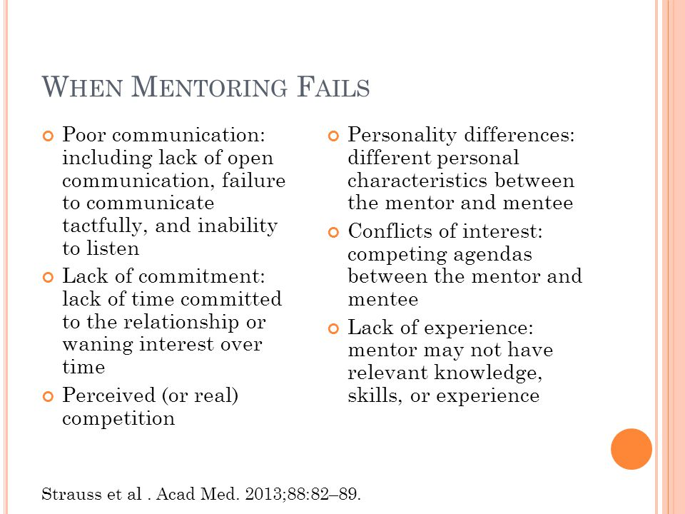 W HEN M ENTORING F AILS Poor communication: including lack of open communication, failure to communicate tactfully, and inability to listen Lack of commitment: lack of time committed to the relationship or waning interest over time Perceived (or real) competition Personality differences: different personal characteristics between the mentor and mentee Conflicts of interest: competing agendas between the mentor and mentee Lack of experience: mentor may not have relevant knowledge, skills, or experience Strauss et al.