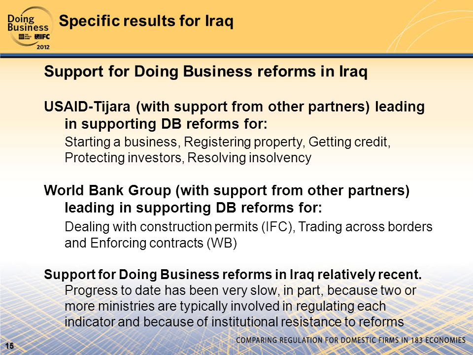 Specific results for Iraq 15 15 Support for Doing Business reforms in Iraq USAID-Tijara (with support from other partners) leading in supporting DB reforms for: Starting a business, Registering property, Getting credit, Protecting investors, Resolving insolvency World Bank Group (with support from other partners) leading in supporting DB reforms for: Dealing with construction permits (IFC), Trading across borders and Enforcing contracts (WB) Support for Doing Business reforms in Iraq relatively recent.