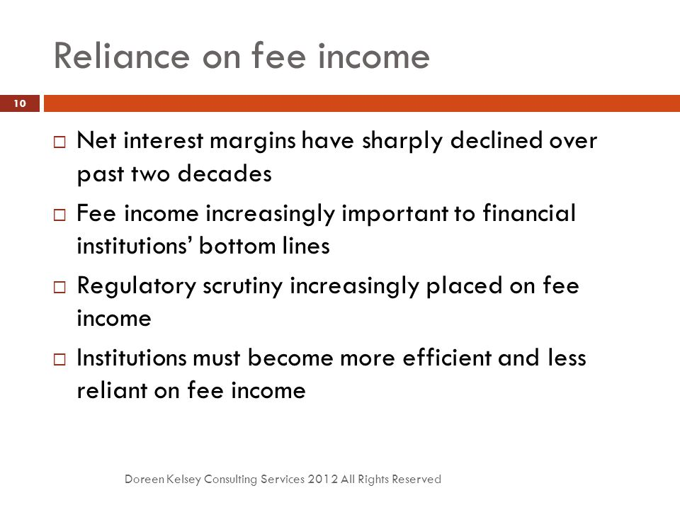 Reliance on fee income Doreen Kelsey Consulting Services 2012 All Rights Reserved 10  Net interest margins have sharply declined over past two decade