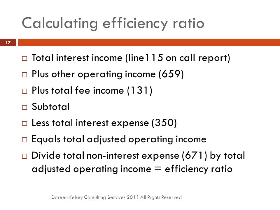 Calculating efficiency ratio Doreen Kelsey Consulting Services 2011 All Rights Reserved 17  Total interest income (line115 on call report)  Plus other operating income (659)  Plus total fee income (131)  Subtotal  Less total interest expense (350)  Equals total adjusted operating income  Divide total non-interest expense (671) by total adjusted operating income = efficiency ratio