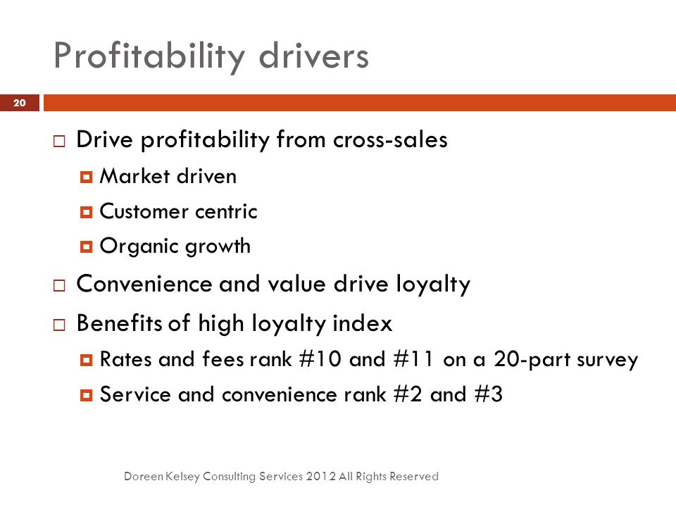 Profitability drivers Doreen Kelsey Consulting Services 2012 All Rights Reserved 20  Drive profitability from cross-sales  Market driven  Customer centric  Organic growth  Convenience and value drive loyalty  Benefits of high loyalty index  Rates and fees rank #10 and #11 on a 20-part survey  Service and convenience rank #2 and #3