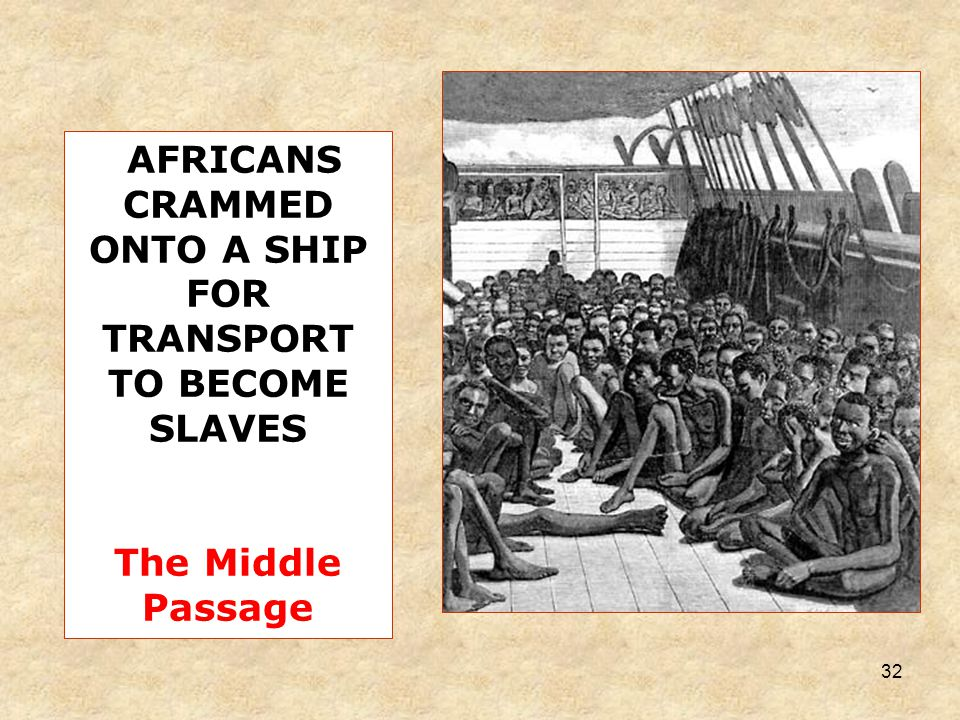 32 AFRICANS CRAMMED ONTO A SHIP FOR TRANSPORT TO BECOME SLAVES The Middle Passage