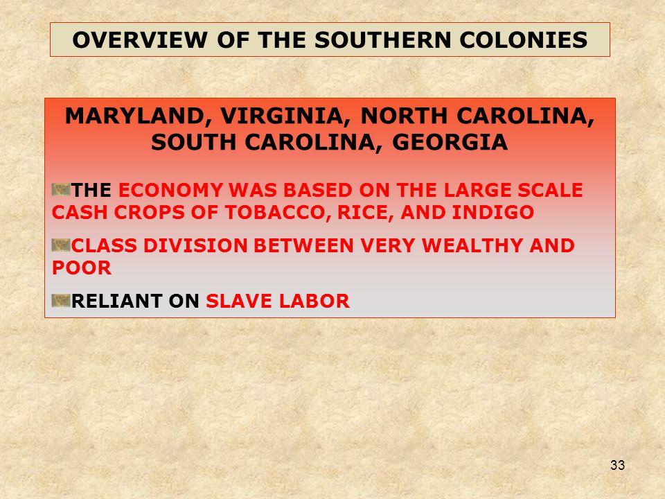 33 MARYLAND, VIRGINIA, NORTH CAROLINA, SOUTH CAROLINA, GEORGIA THE ECONOMY WAS BASED ON THE LARGE SCALE CASH CROPS OF TOBACCO, RICE, AND INDIGO CLASS