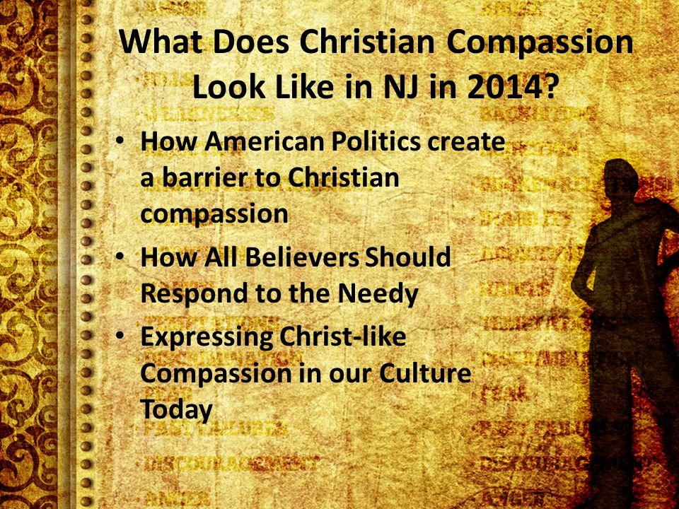 What Does Christian Compassion Look Like in NJ in 2014.