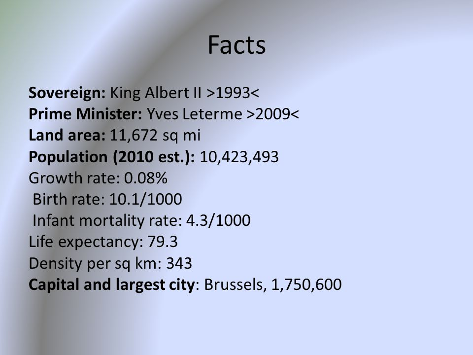Facts Sovereign: King Albert II >1993< Prime Minister: Yves Leterme >2009< Land area: 11,672 sq mi Population (2010 est.): 10,423,493 Growth rate: 0.08% Birth rate: 10.1/1000 Infant mortality rate: 4.3/1000 Life expectancy: 79.3 Density per sq km: 343 Capital and largest city: Brussels, 1,750,600