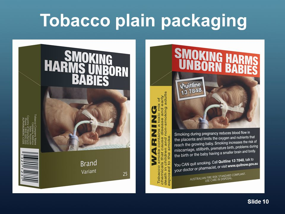 Tobacco plain packaging Slide 10