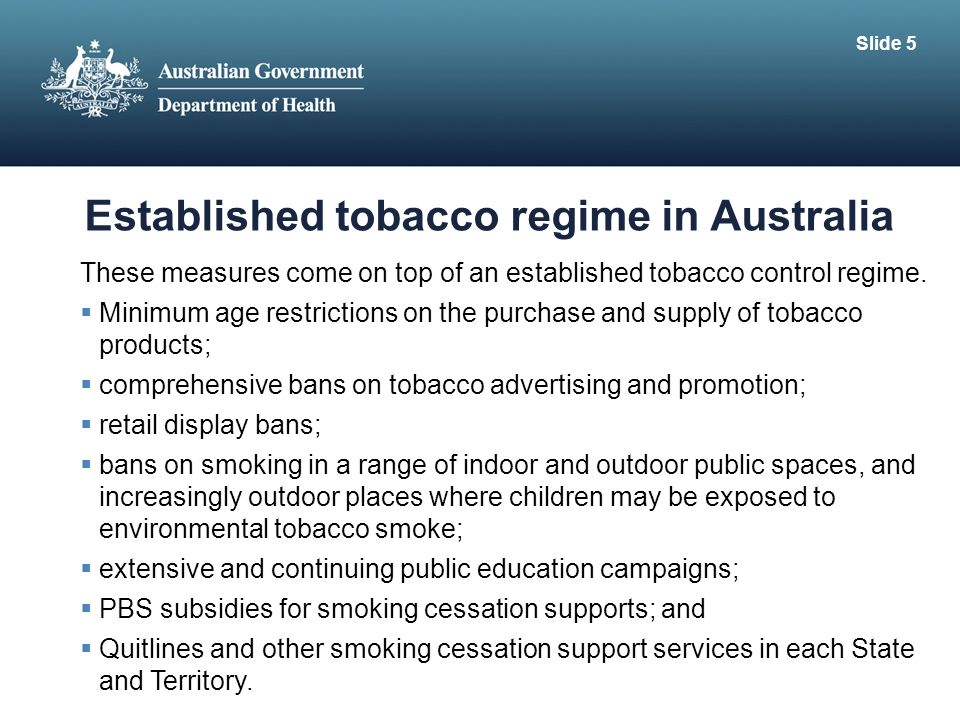 Established tobacco regime in Australia These measures come on top of an established tobacco control regime.