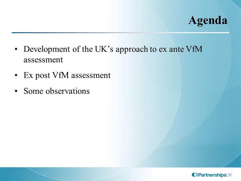 Agenda Development of the UK's approach to ex ante VfM assessment Ex post VfM assessment Some observations