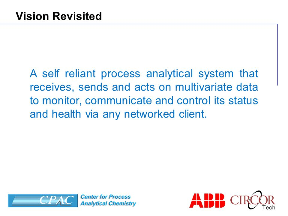 Vision Revisited A self reliant process analytical system that receives, sends and acts on multivariate data to monitor, communicate and control its status and health via any networked client.