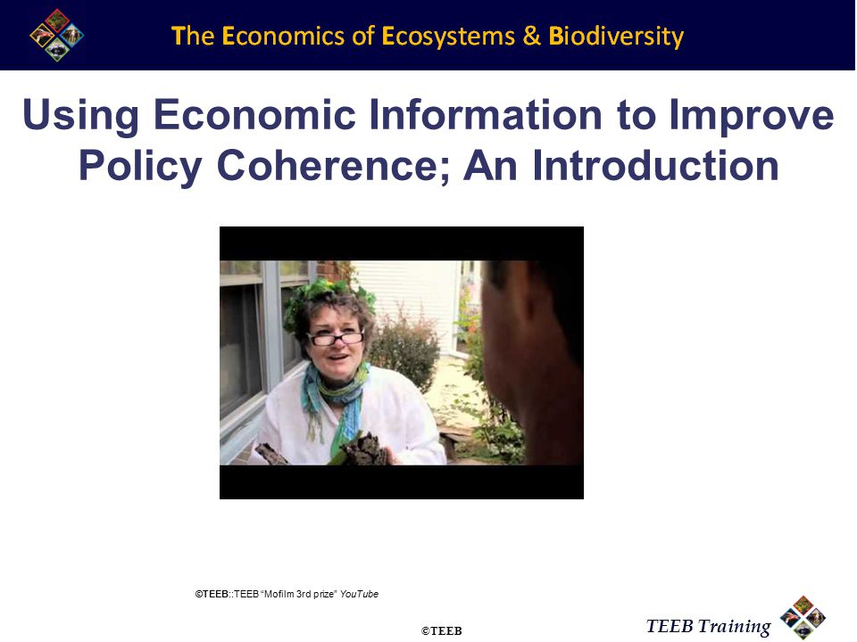 TEEB Training Using Economic Information to Improve Policy Coherence; An Introduction ©TEEB::TEEB Mofilm 3rd prize YouTube ©TEEB