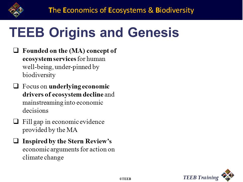 TEEB Training Potsdam Initiative – Biological Diversity 2010 ……the economic significance of the global loss of biological diversity….