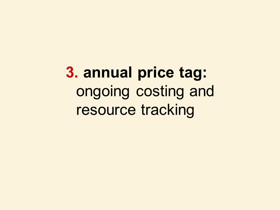 3. annual price tag: ongoing costing and resource tracking