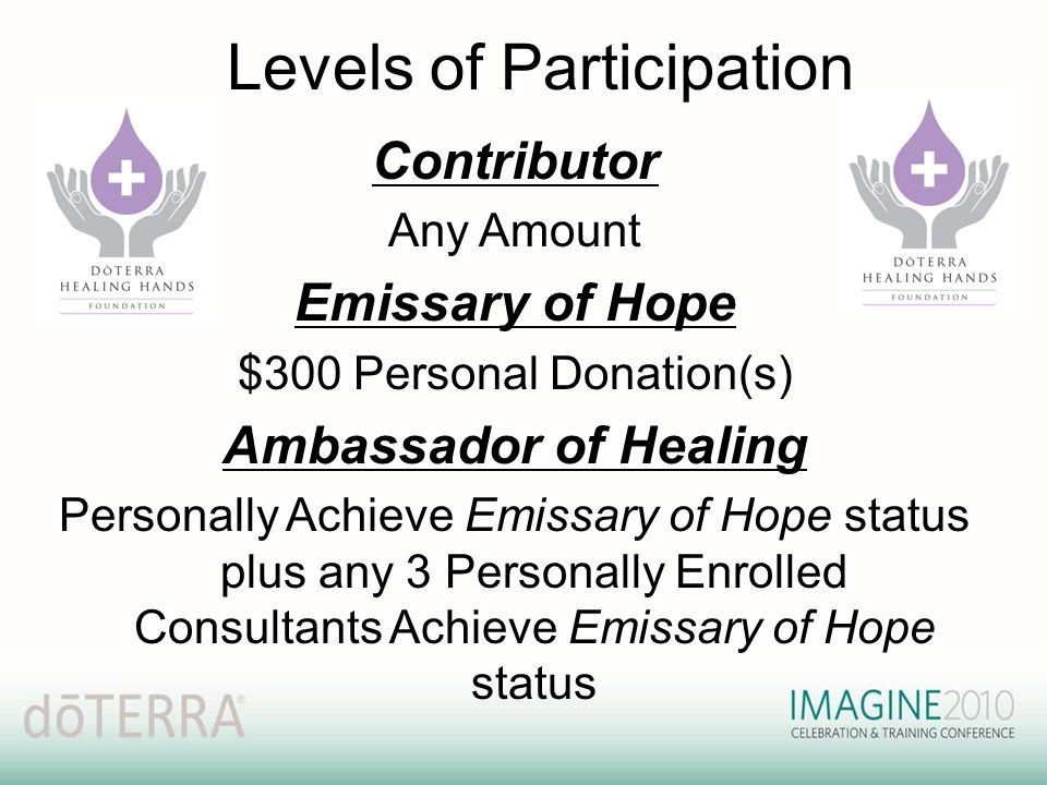 Levels of Participation Contributor Any Amount Emissary of Hope $300 Personal Donation(s) Ambassador of Healing Personally Achieve Emissary of Hope st