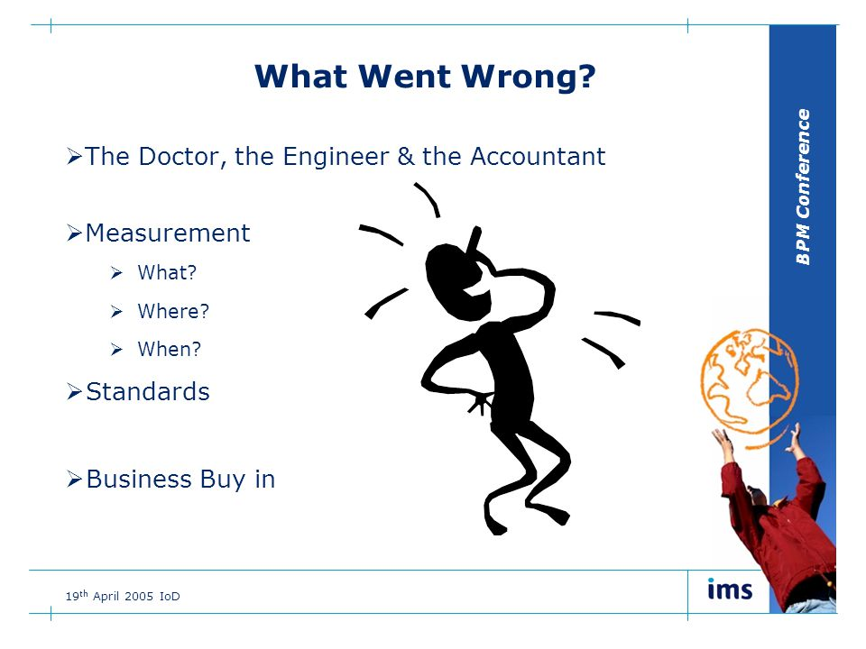BPM Conference 19 th April 2005 IoD What Went Wrong.