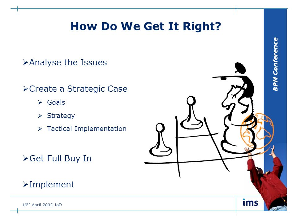 BPM Conference 19 th April 2005 IoD How Do We Get It Right.