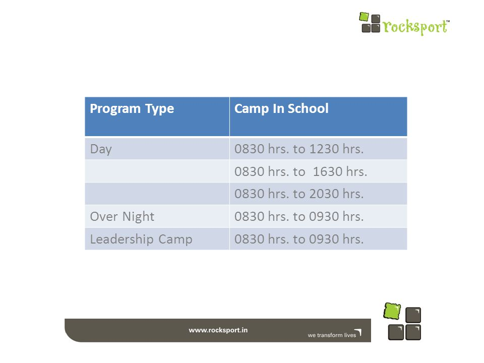 Program TypeCamp In School Day0830 hrs. to 1230 hrs.