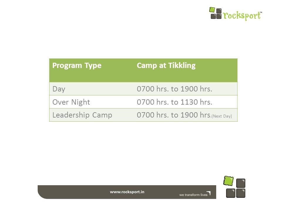 Program TypeCamp at Tikkling Day0700 hrs. to 1900 hrs.
