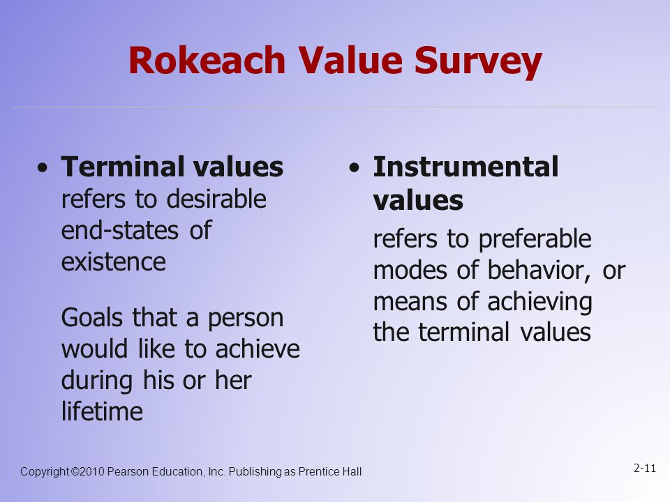 Copyright ©2010 Pearson Education, Inc. Publishing as Prentice Hall 2-11 Rokeach Value Survey Terminal values refers to desirable end-states of existe