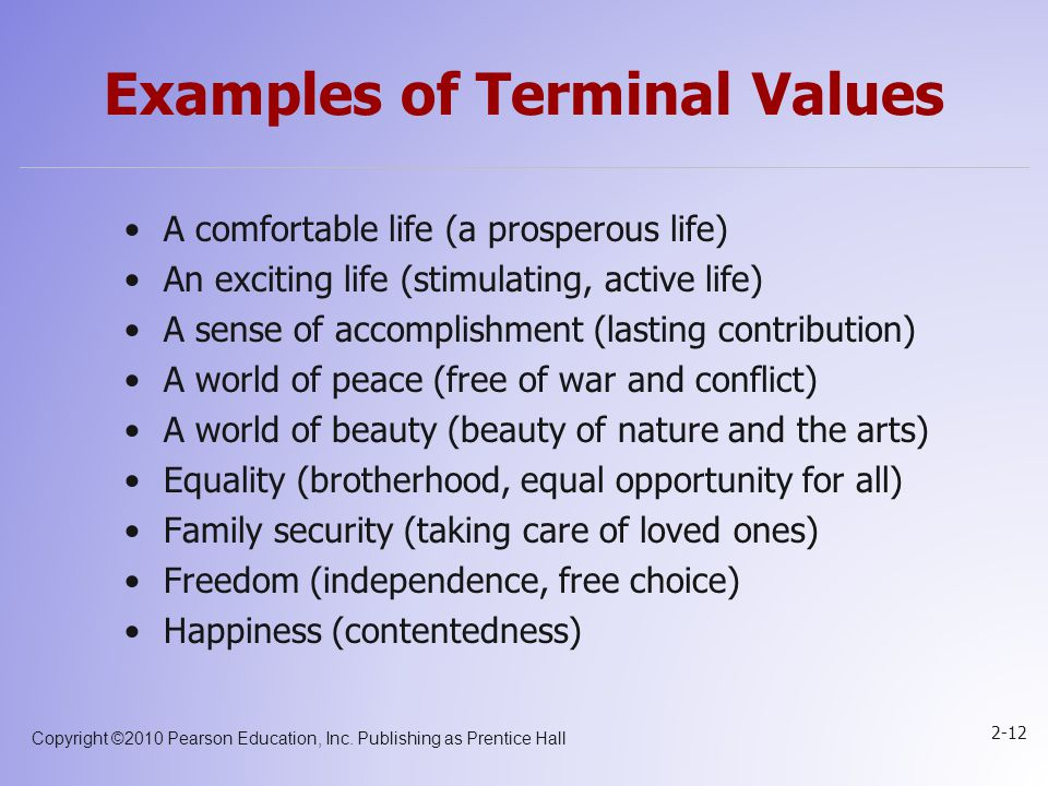 Copyright ©2010 Pearson Education, Inc. Publishing as Prentice Hall 2-12 Examples of Terminal Values A comfortable life (a prosperous life) An excitin