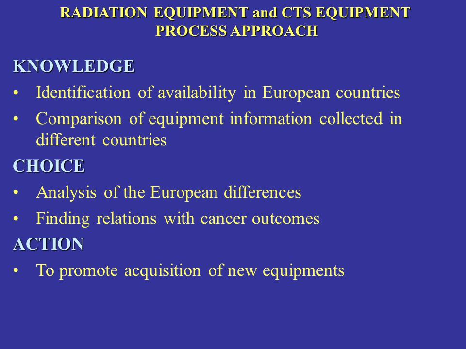 RADIATION EQUIPMENT and CTS EQUIPMENT PROCESS APPROACH PROCESS APPROACHKNOWLEDGE Identification of availability in European countries Comparison of equipment information collected in different countriesCHOICE Analysis of the European differences Finding relations with cancer outcomesACTION To promote acquisition of new equipments