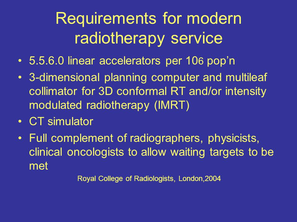 Requirements for modern radiotherapy service 5.5.6.0 linear accelerators per 10 6 pop'n 3-dimensional planning computer and multileaf collimator for 3