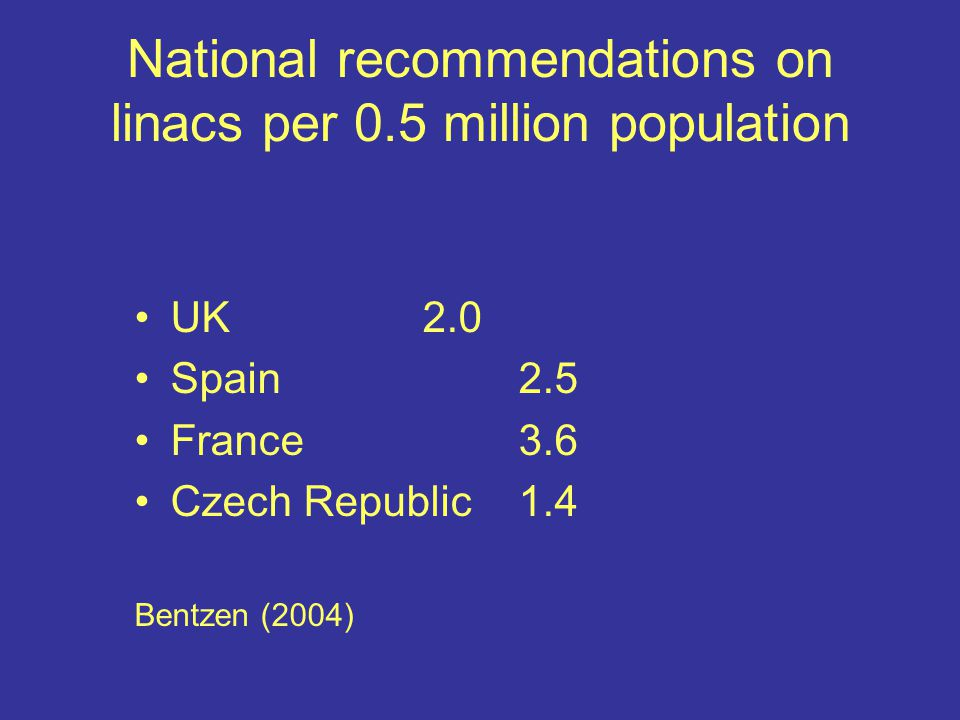 National recommendations on linacs per 0.5 million population UK2.0 Spain2.5 France3.6 Czech Republic1.4 Bentzen (2004)