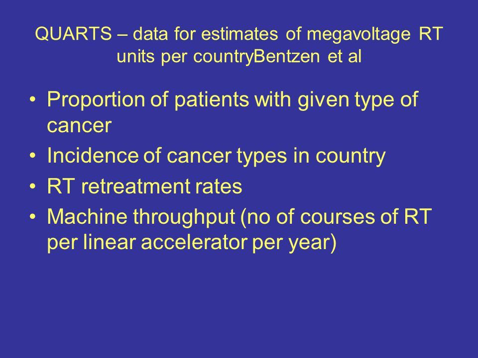 QUARTS – data for estimates of megavoltage RT units per countryBentzen et al Proportion of patients with given type of cancer Incidence of cancer type