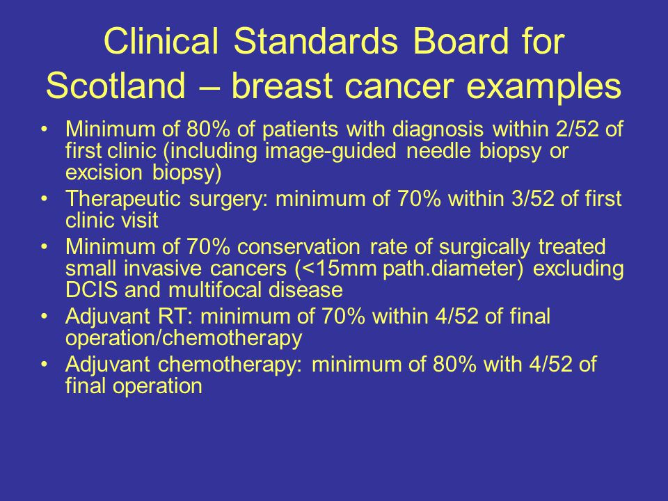 Clinical Standards Board for Scotland – breast cancer examples Minimum of 80% of patients with diagnosis within 2/52 of first clinic (including image-guided needle biopsy or excision biopsy) Therapeutic surgery: minimum of 70% within 3/52 of first clinic visit Minimum of 70% conservation rate of surgically treated small invasive cancers (<15mm path.diameter) excluding DCIS and multifocal disease Adjuvant RT: minimum of 70% within 4/52 of final operation/chemotherapy Adjuvant chemotherapy: minimum of 80% with 4/52 of final operation