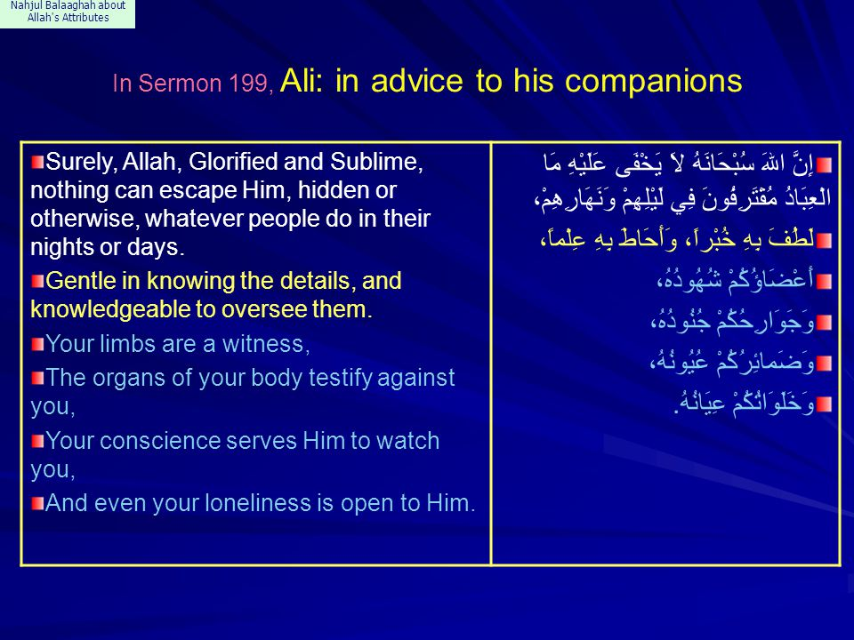Nahjul Balaaghah about Allah's Attributes In Sermon 199, Ali: in advice to his companions Surely, Allah, Glorified and Sublime, nothing can escape Him