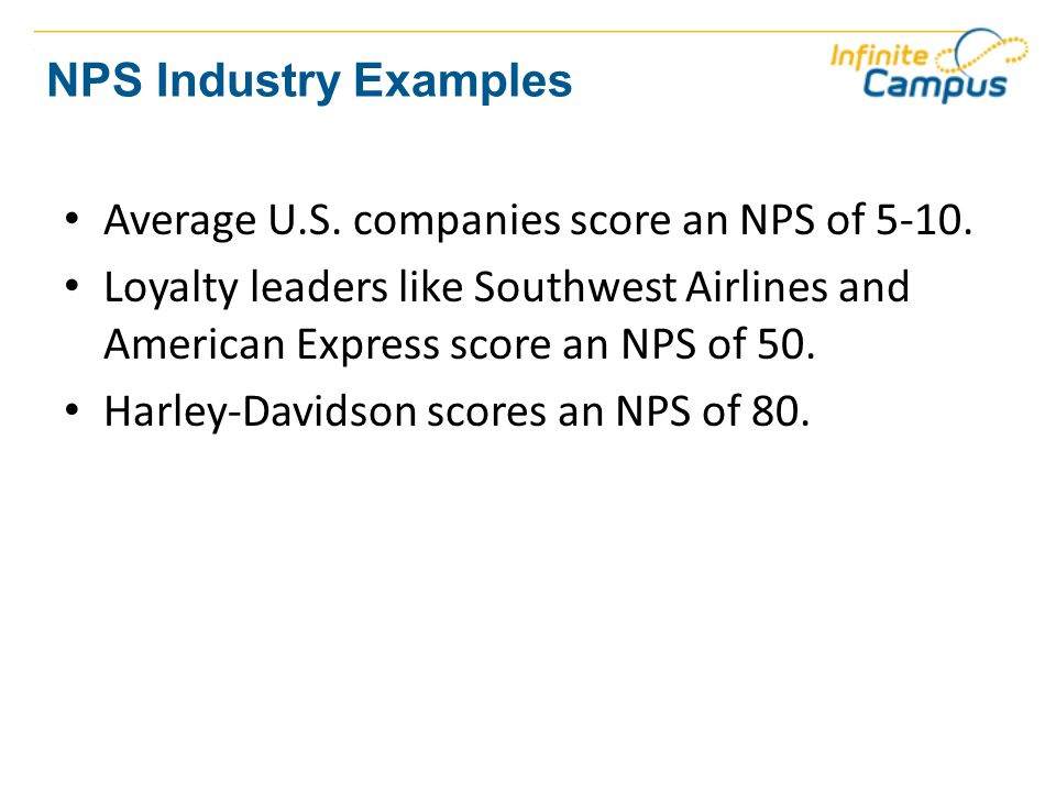 NPS Industry Examples Average U.S. companies score an NPS of 5-10.