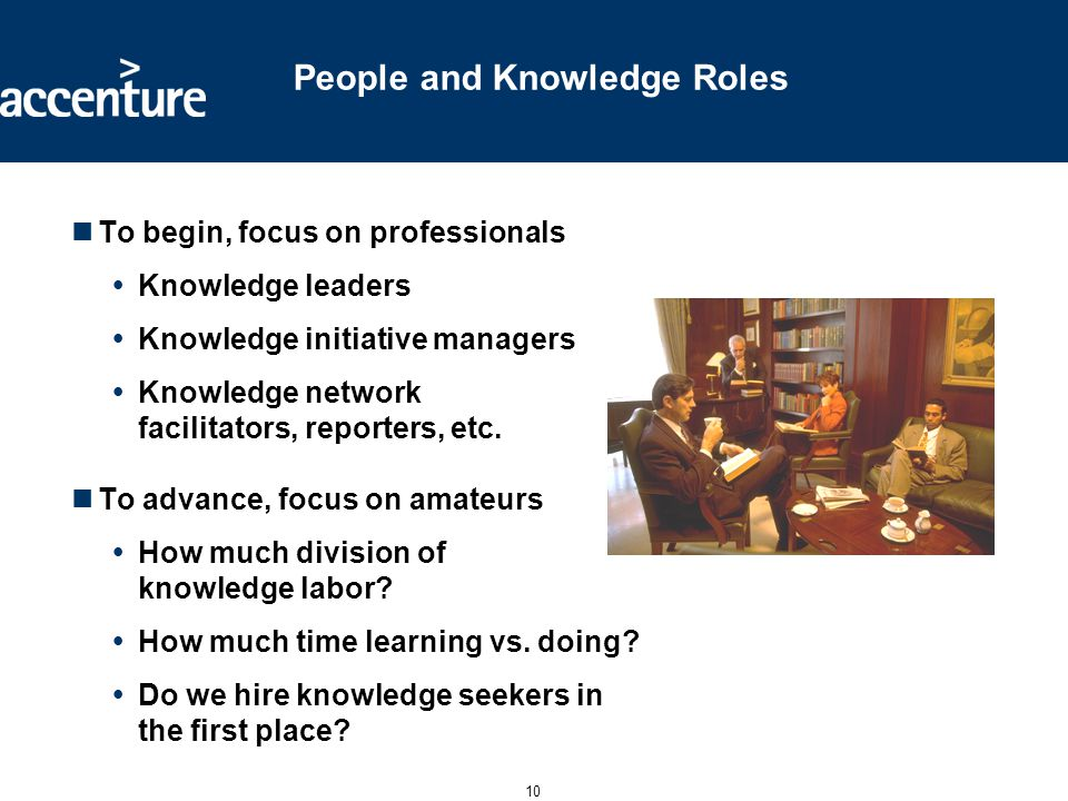 10 People and Knowledge Roles To begin, focus on professionals  Knowledge leaders  Knowledge initiative managers  Knowledge network facilitators, r
