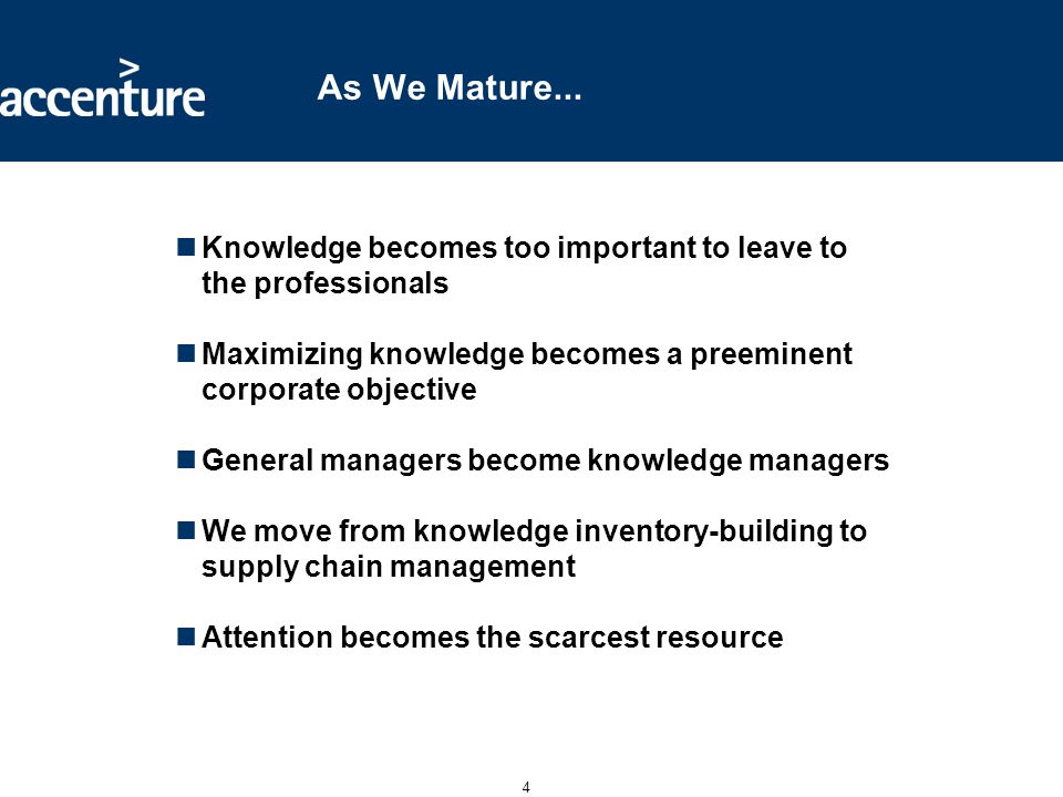 4 As We Mature... Knowledge becomes too important to leave to the professionals Maximizing knowledge becomes a preeminent corporate objective General