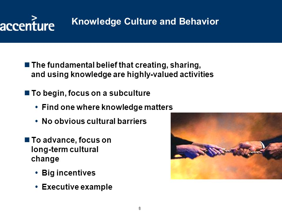 8 Knowledge Culture and Behavior The fundamental belief that creating, sharing, and using knowledge are highly-valued activities To begin, focus on a