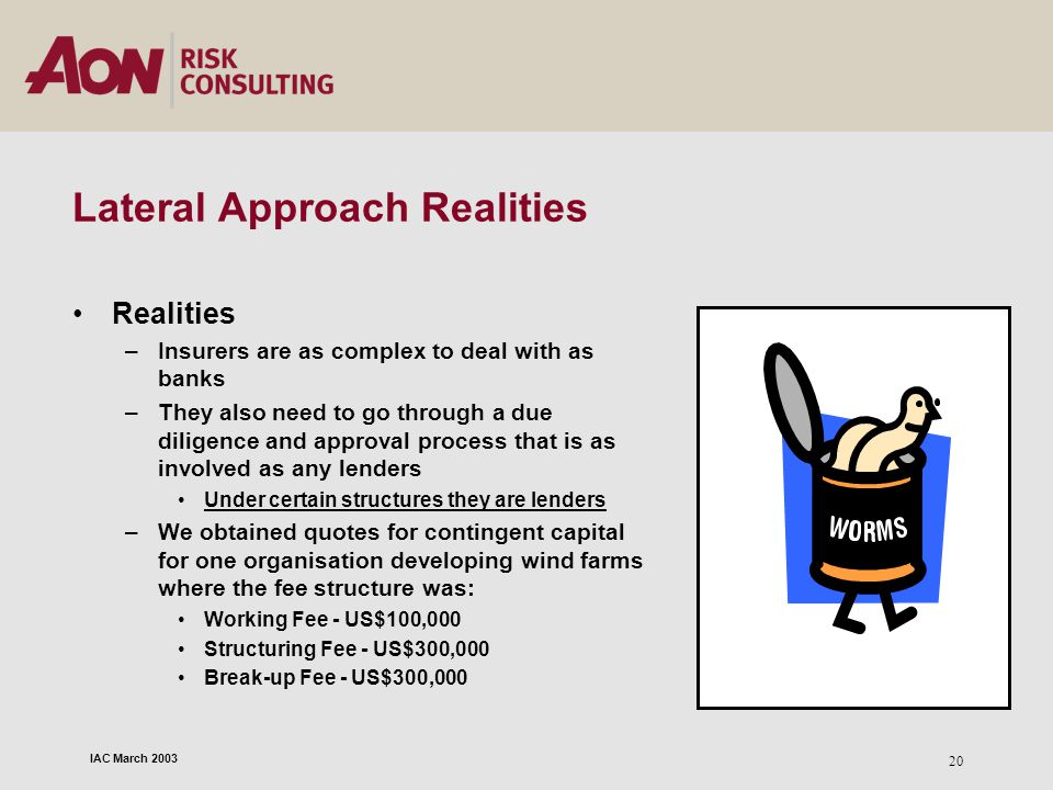 IAC March 2003 20 Lateral Approach Realities Realities –Insurers are as complex to deal with as banks –They also need to go through a due diligence an