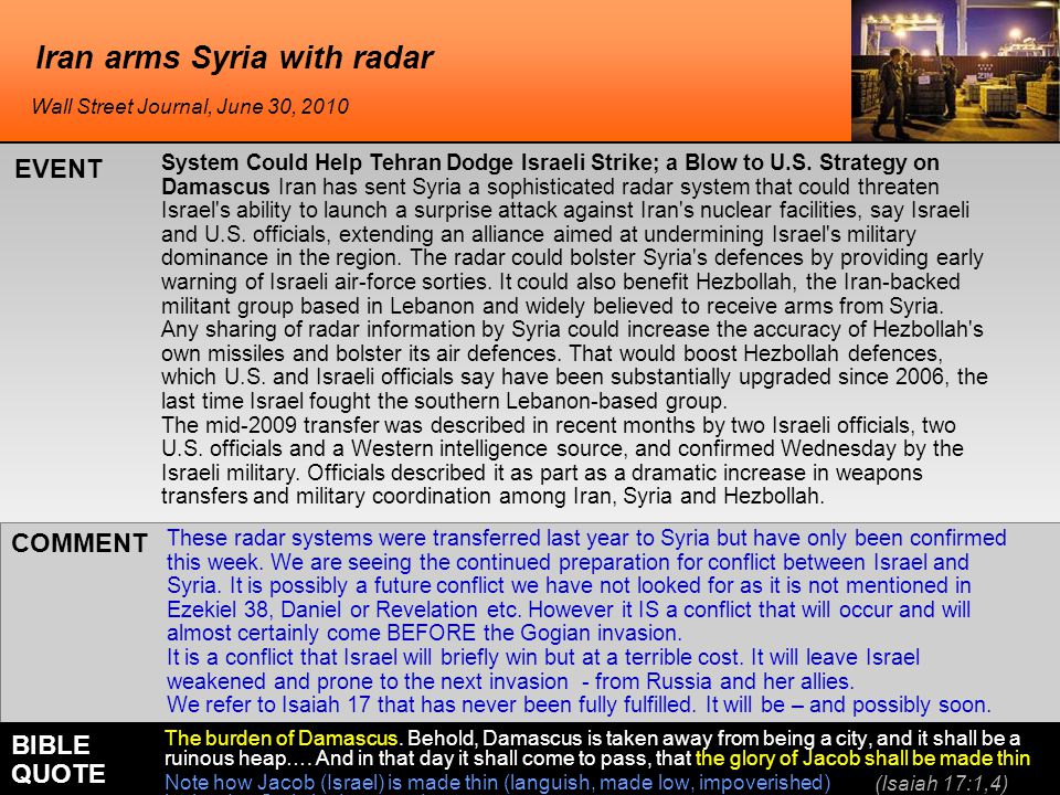Iran arms Syria with radar System Could Help Tehran Dodge Israeli Strike; a Blow to U.S.