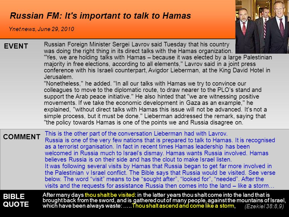 Russian FM: It s important to talk to Hamas Russian Foreign Minister Sergei Lavrov said Tuesday that his country was doing the right thing in its direct talks with the Hamas organization.