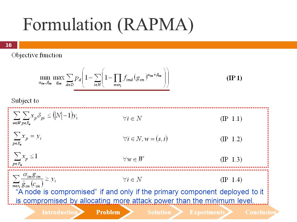 """16 Formulation (RAPMA) Introduction Problem Solution Experiments Conclusion """"A node is compromised"""" if and only if the primary component deployed to i"""