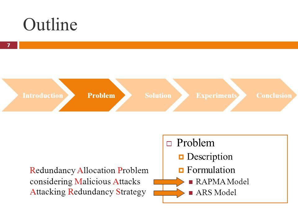 7 Outline  Problem  Description  Formulation RAPMA Model ARS Model Introduction Problem Solution Experiments Conclusion Redundancy Allocation Probl