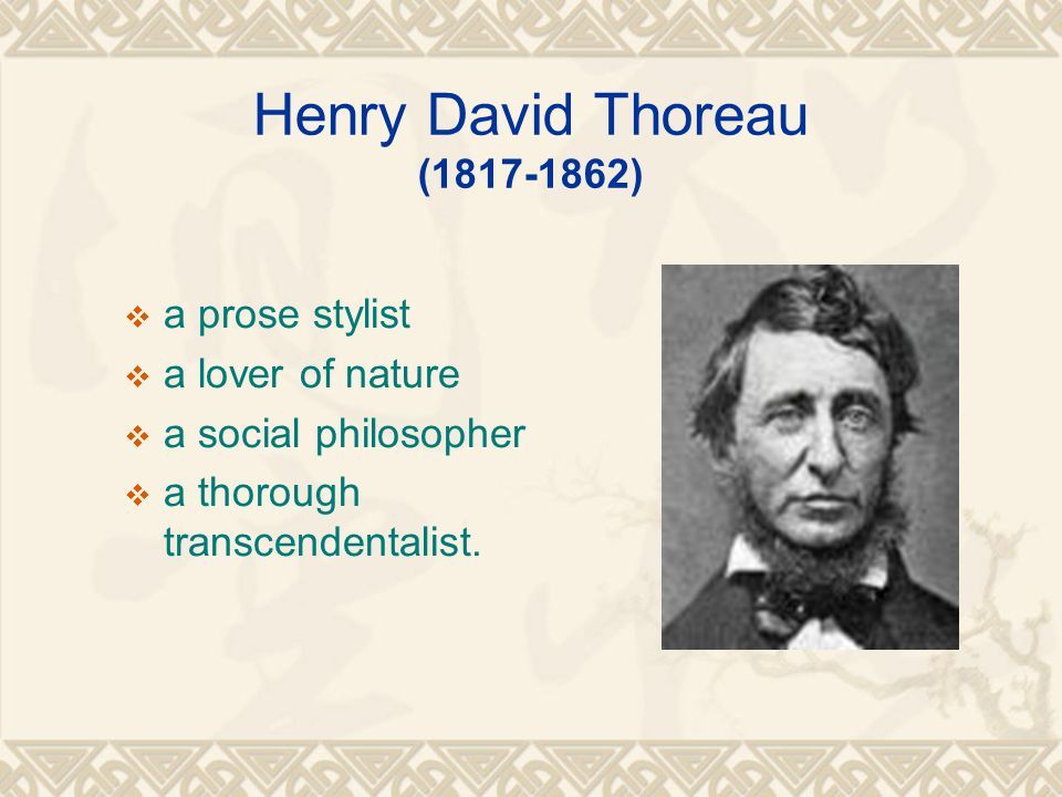 Henry David Thoreau (1817-1862)  a prose stylist  a lover of nature  a social philosopher  a thorough transcendentalist.
