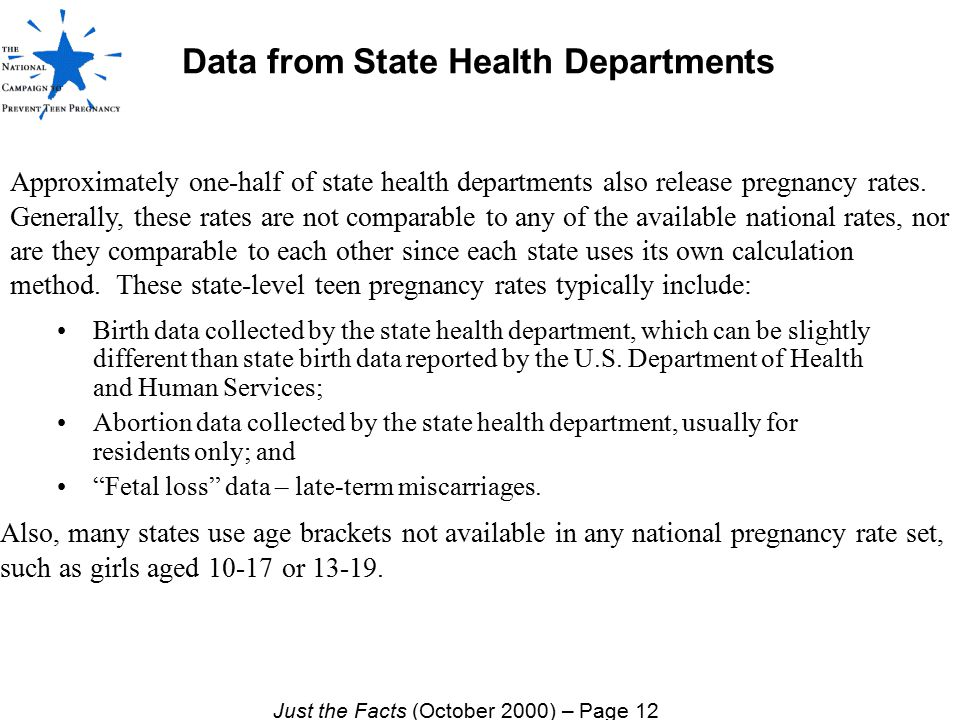 Data from State Health Departments Birth data collected by the state health department, which can be slightly different than state birth data reported